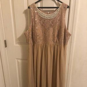 Long gold prom dress